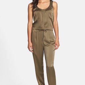 Eileen Fisher green silk jump suit